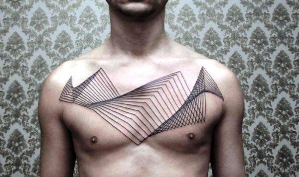 Simple Black Tattoo On Chest