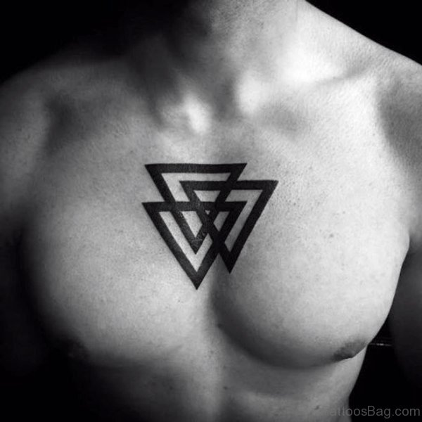 Simple Black Triangle Tattoo On Chest