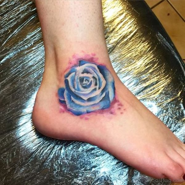 3fa816fbc 12 Stunning Blue Rose Tattoos On Ankle