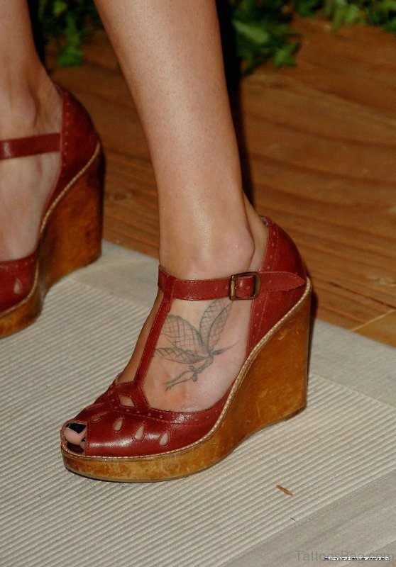 Simple Butterfly Tattoo On Foot For Girls