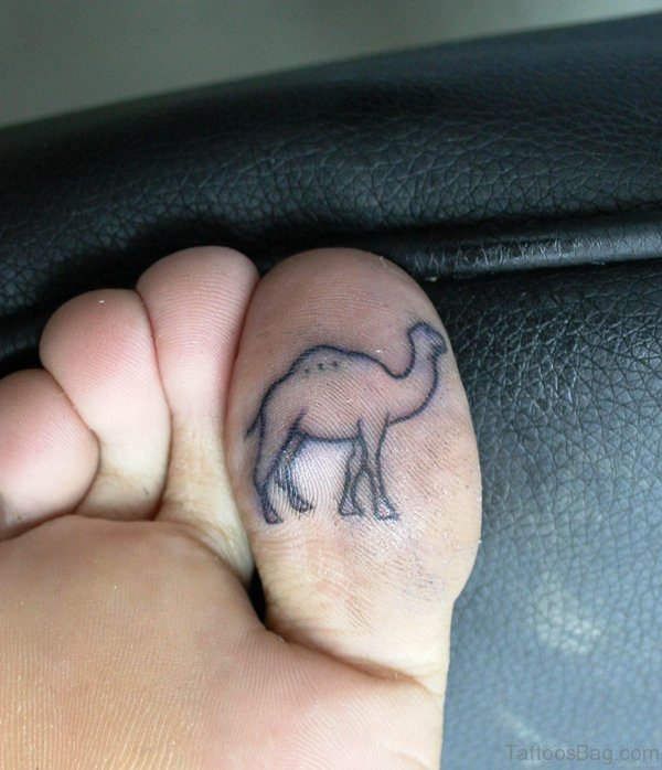 Simple Camel Tattoo Under Toe