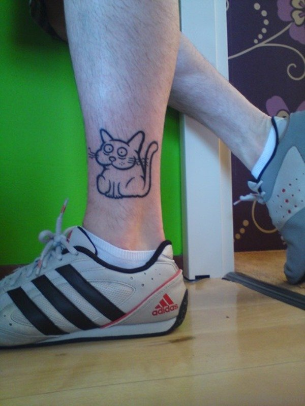 Simple Cat Tattoo On Leg