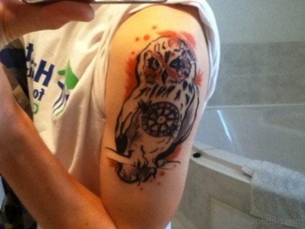 Simple Colored Owl Tattoo
