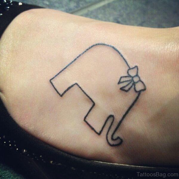 Simple Elephant Tattoo on Foot