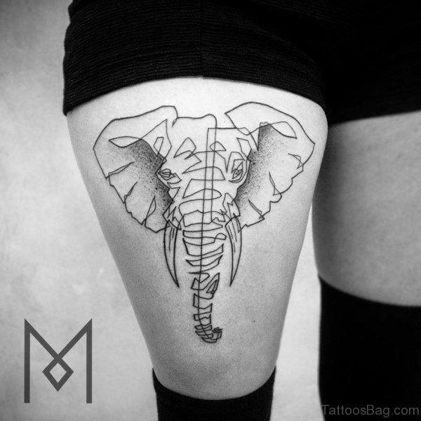 Simple Elephnat Tattoo Design