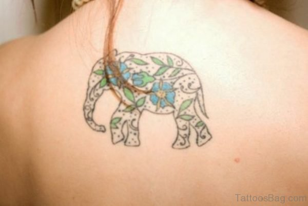 Simple Flower Elephant Tattoo On Back