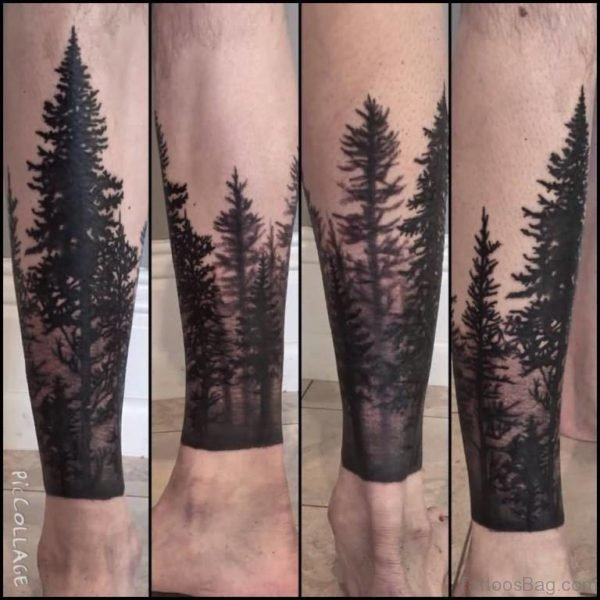 Simple Forest Tree Tattoo On Leg