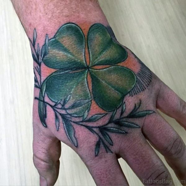 Simple Leaf Tattoo On Right Hand