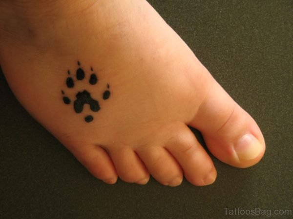 Simple Paw Tattoo On Foot