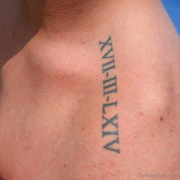 Simple Roman Tattoo Design On Left Shoulder