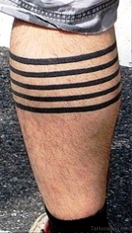 Simple Soild Band Tattoo On Leg