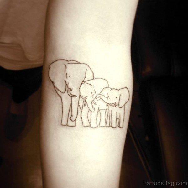 Simple Three Forearm Elephant Tattoo