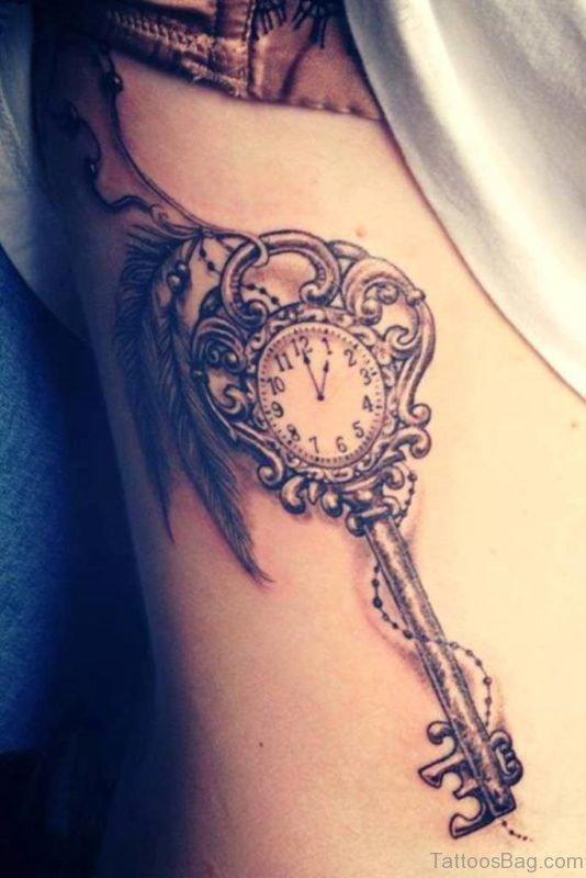 Skeleton Key Tattoo On Side Rib