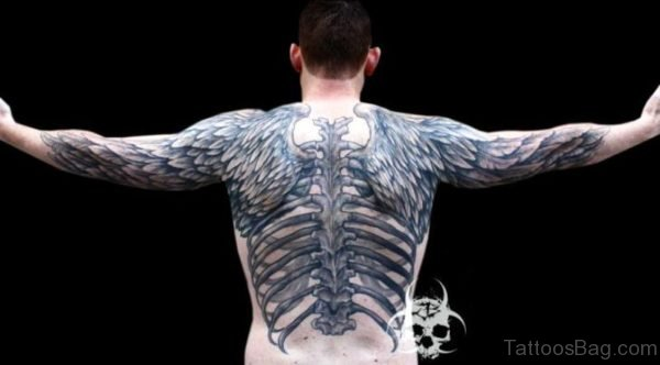 Skeleton With Big Wings Tattoo On Back