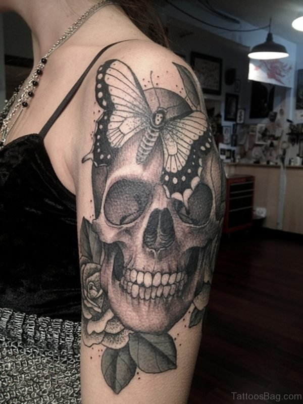 Skull And Butterfly Tattoo On Shoulder