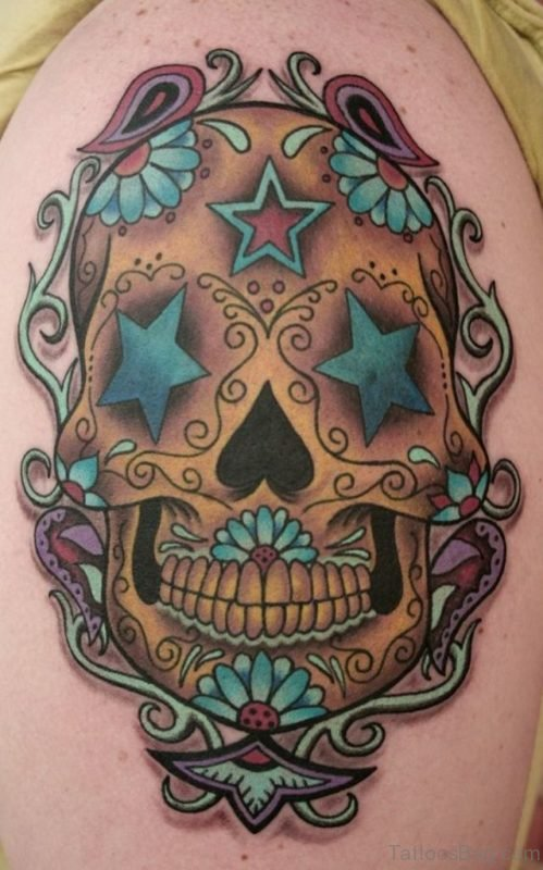 Skull And Flower Tattoo On Shoulder