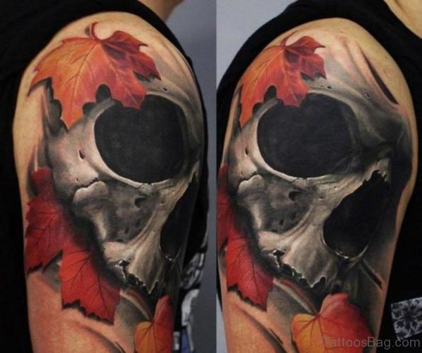 Skull And Leaf Tattoo