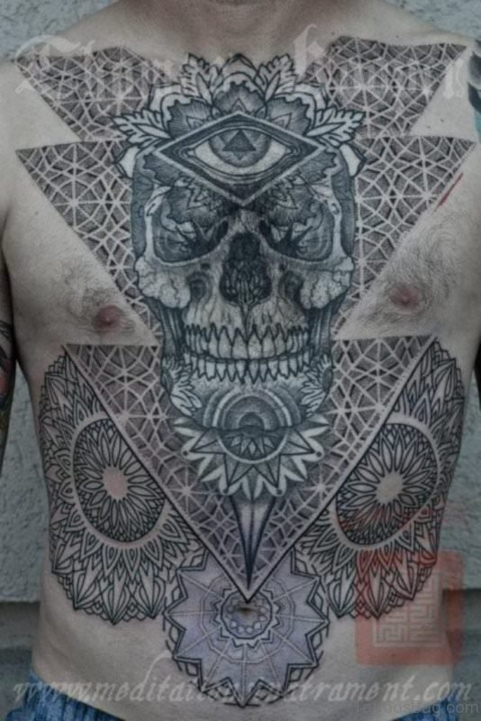 Skull And Mandala Tattoo On Chest