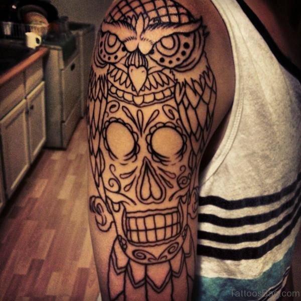 Skull And Owl Tattoo