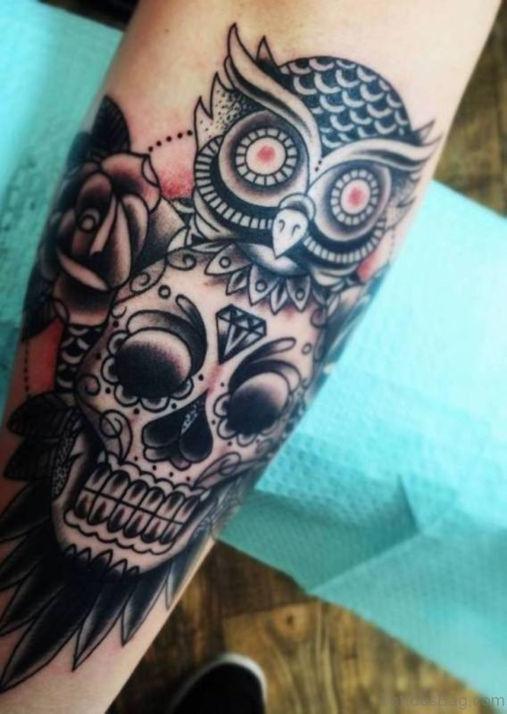 Skull And Owl Tattoo On Arm