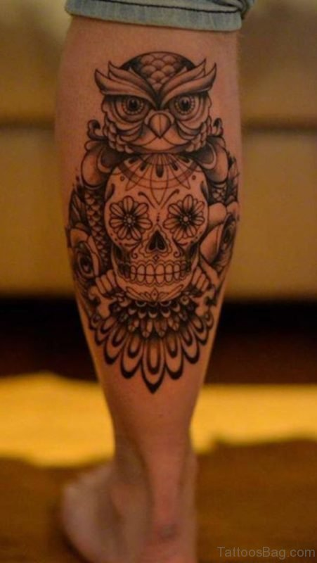 Skull And Owl Tattoo On Leg