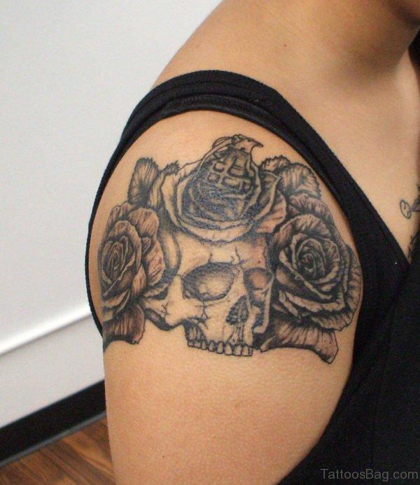 Skull And Rose Tattoo On Shoulder
