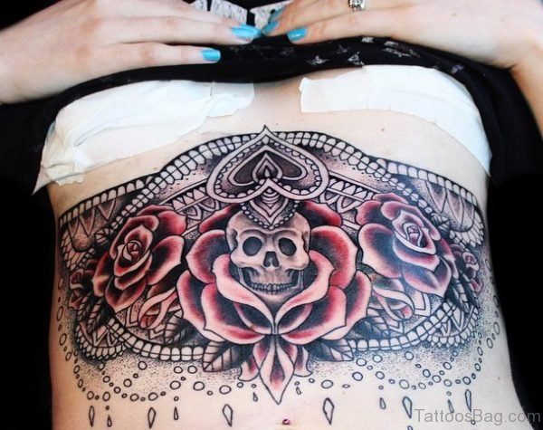 Skull And Rose Tattoo On Stomach