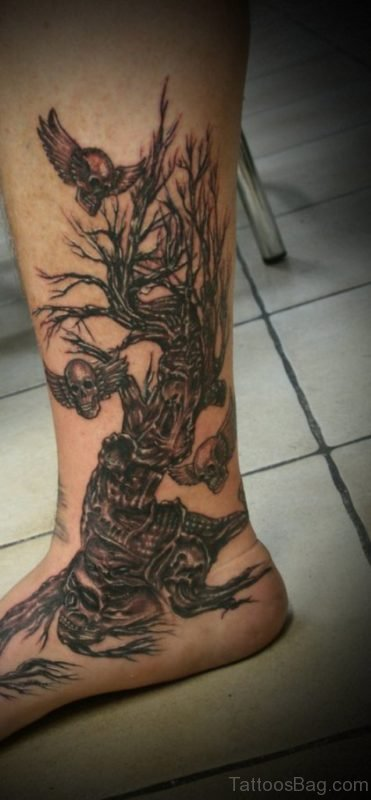 Skull And Tree Tattoo