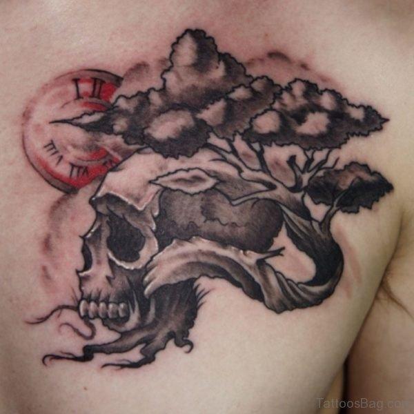 Skull And Tree Tattoo