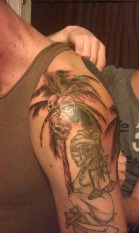 Skull And Tree Tattoo On Shoulder
