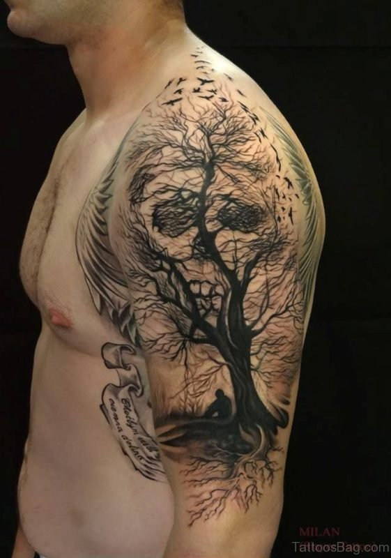 Skull And Tree Tattoo On Shoulder