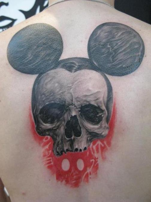 Skull Mickey Mouse Tattoo On Back