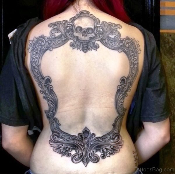 Skull Mirror Tattoo On Back