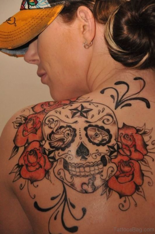 Skull Nautical Shoulder Tattoo st4168