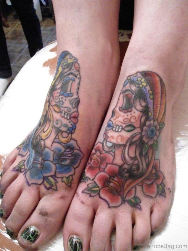 Skull Tatto On Foot