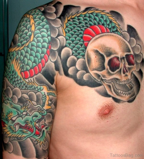 Skull Tattoo Design On Chest