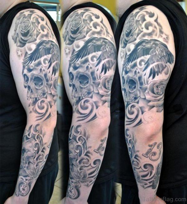 Skull Tattoo Design On Full Sleeve