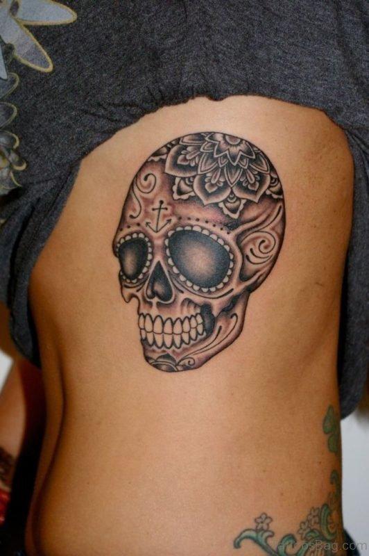 Skull Tattoo Design On Rib