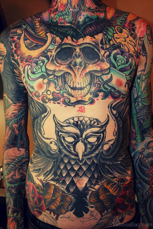 Skull Tattoo On Chest st ST14