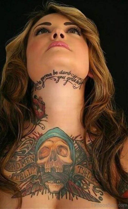 Elegant Skull Tattoo On Chest