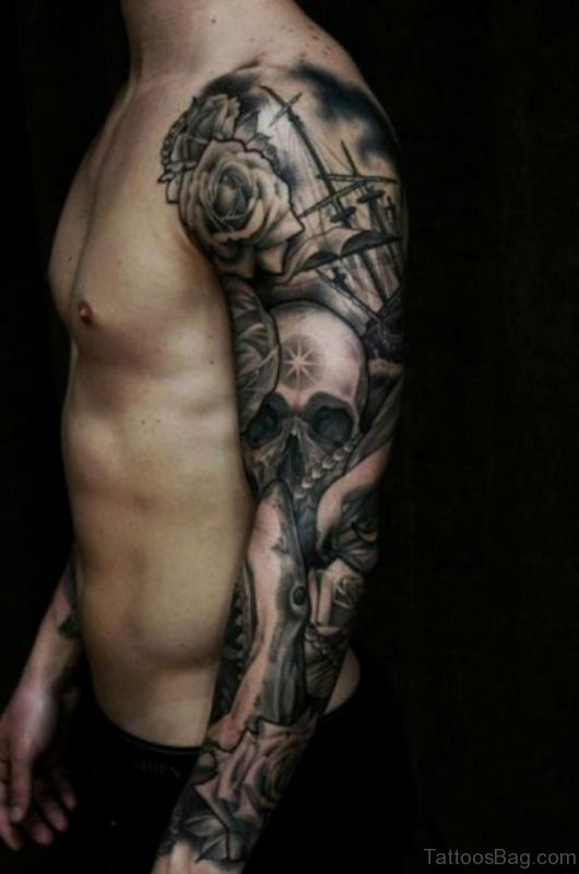 Skull Tattoo On Full Sleeve