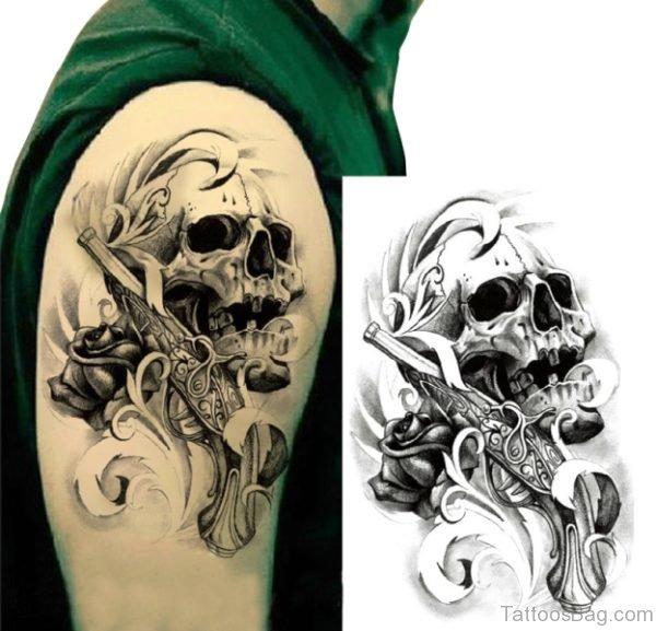 Skull Tattoo On Shoulder 3