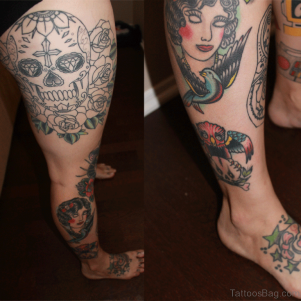 Skull Tattoo On Thigh