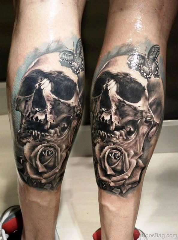 Skull With Butterfly And Rose On Calf