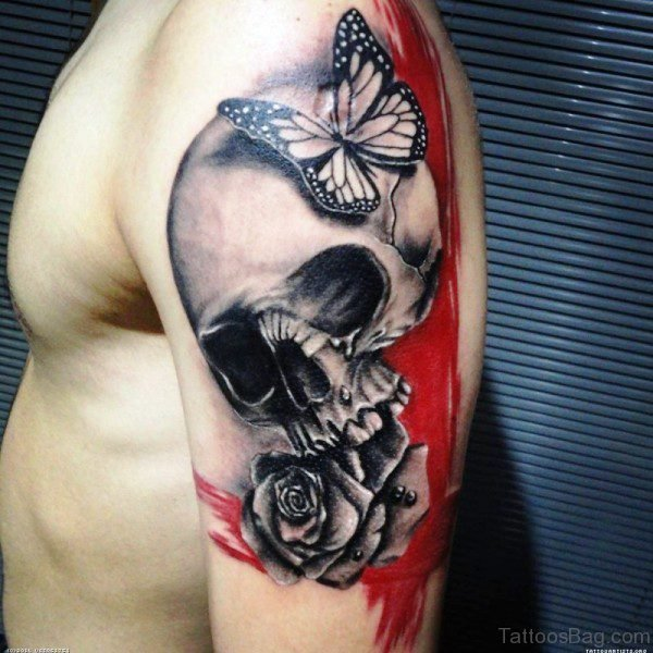 Skull With Butterfly And Rose Tattoo Design