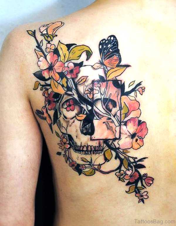 Skull With Flowers Tattoo On Shoulder