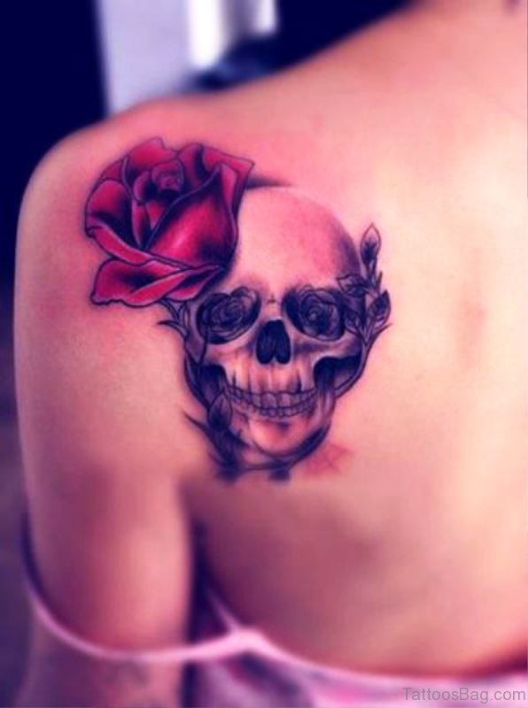 Skull With Rose Tattoo On Back Shoulder