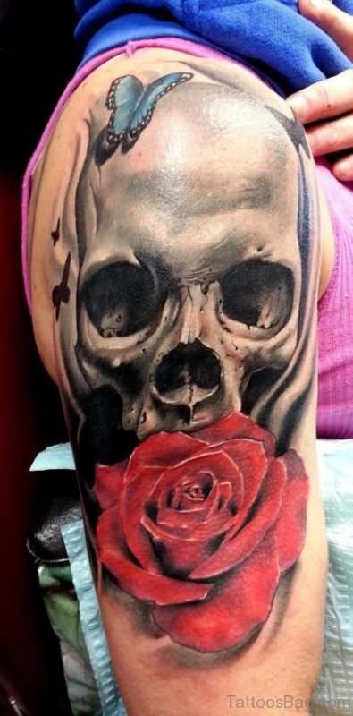 Skull And Rose Tattoo On Shoulder
