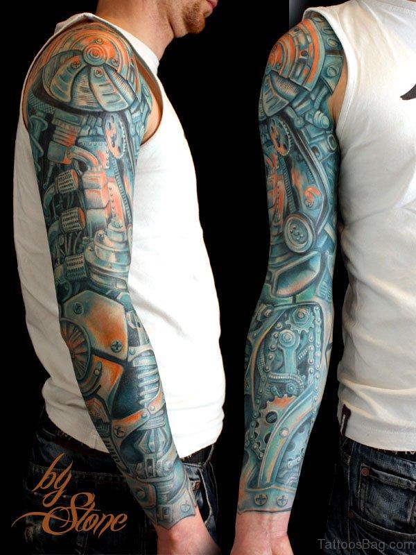 Sky Blue Bio Mechanical Tattoo On Full Sleeve