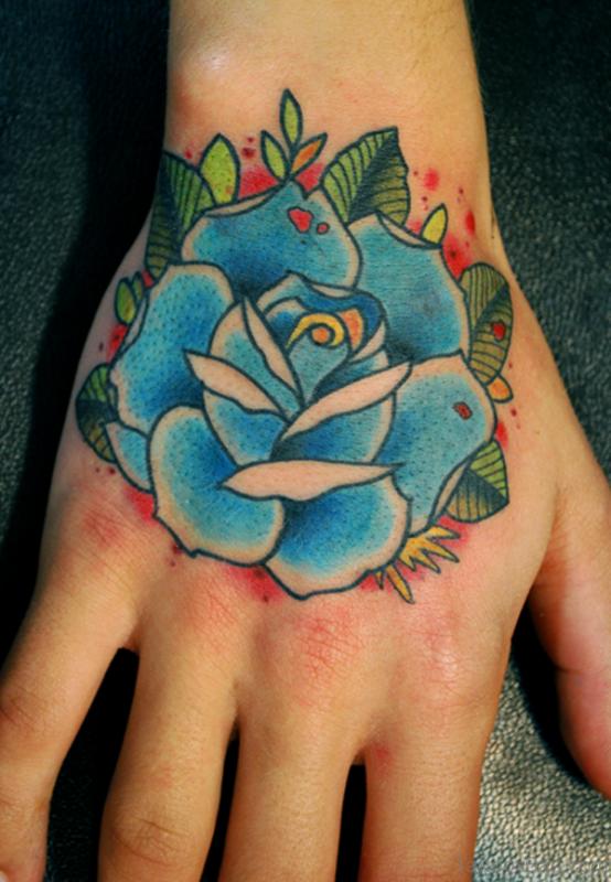 Sky Blue Hand Tattoo